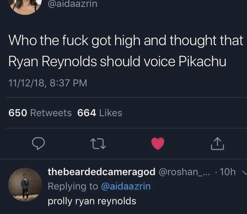 Meme about how the idea for Detective Pikachu came about