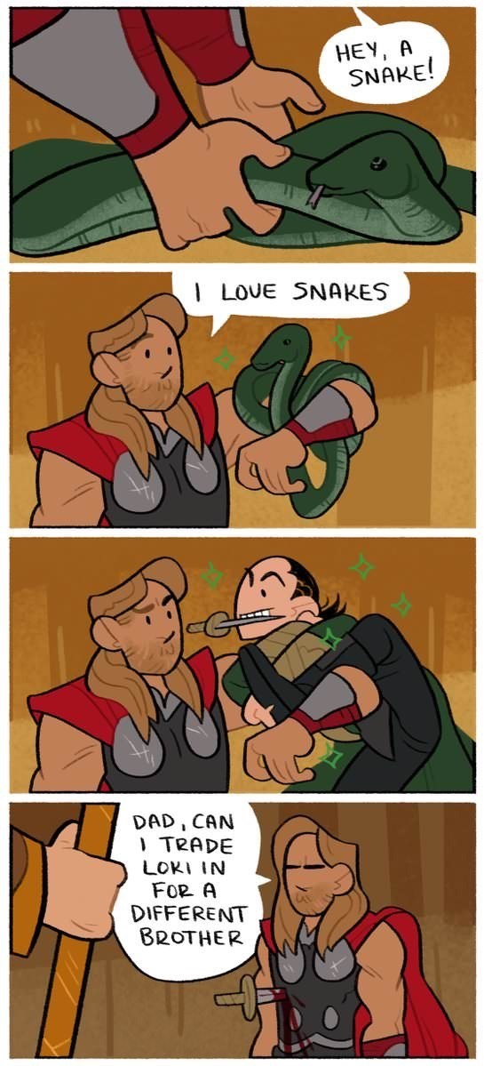 Comic about Loki pretending to be a snake to stab his brother as told in the Thor Ragnarok movie