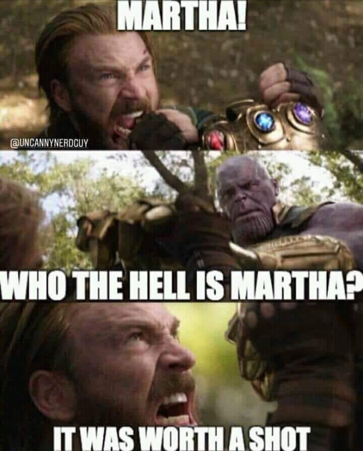 Meme about Captain America attempting a Batman VS Superman move on Thanos