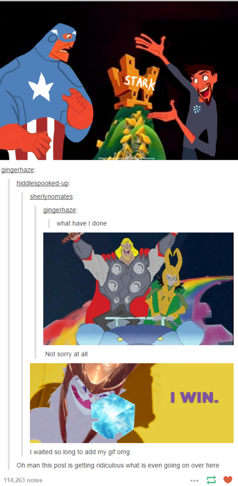 Tumblr thread with scenes from The Emperor's New Groove redrawn with Marvel characters