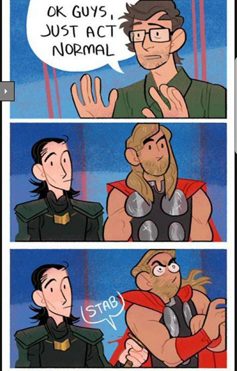 Comic about what the normal relationship between Loki and Thor is like