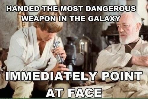 Meme about Luke Skywalker not knowing lightsaber safety
