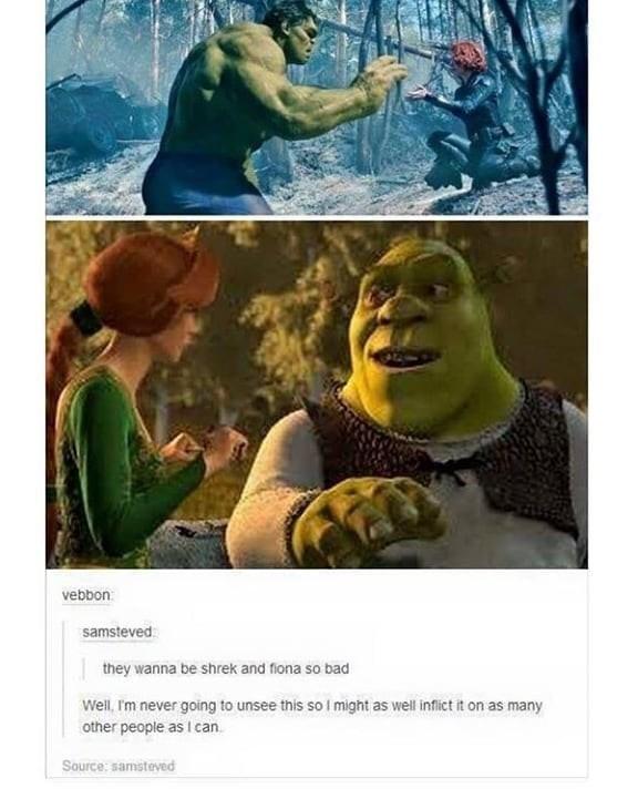 Meme comparing Shrek and Fiona to Black Widow and the Hulk