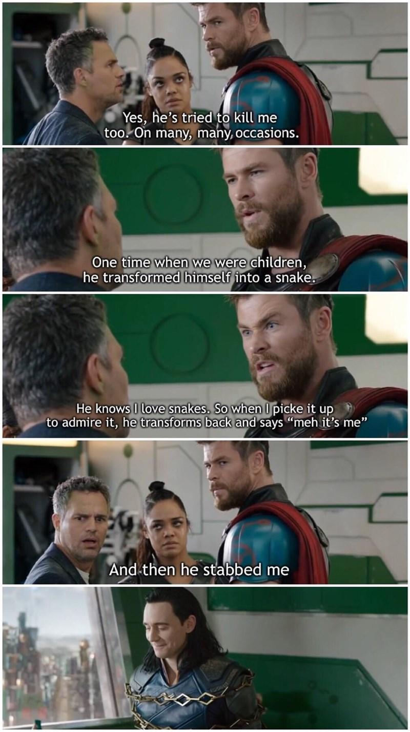 Thor Ragnarok scene of Thor retelling a painful childhood memory
