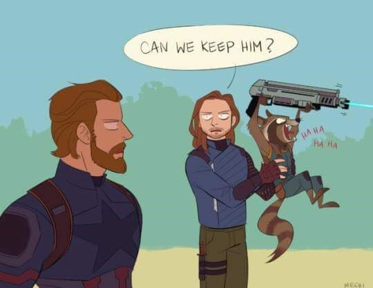 Drawing of Bucky asking Captain America if he can keep Rocket Raccoon