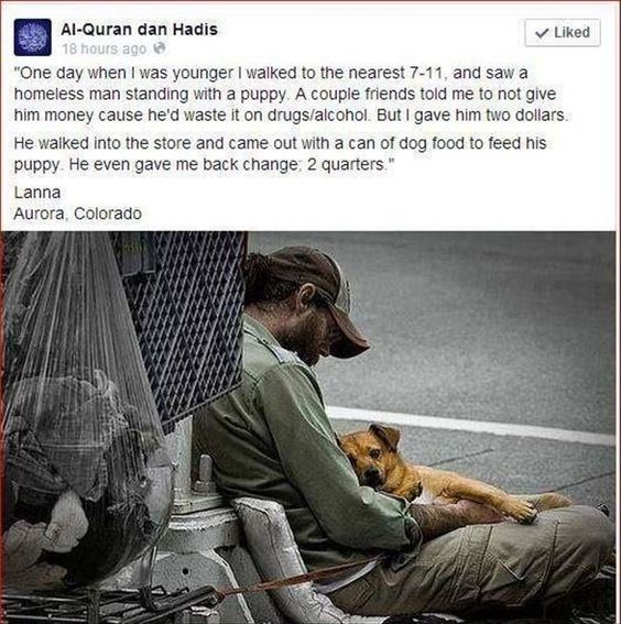 homeless man asks for money to feed a dog