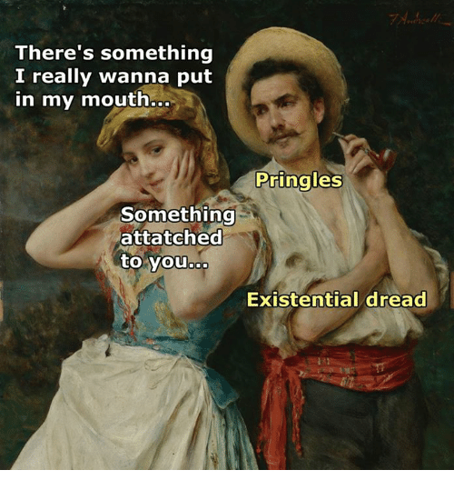 Meme about not understanding advances with classic painting of couple leaning back to back