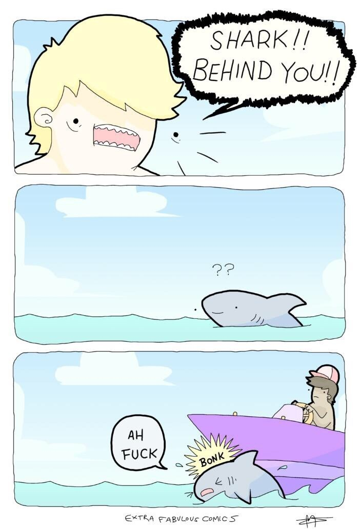 Comic about a person at the beach yelling to warn a shark