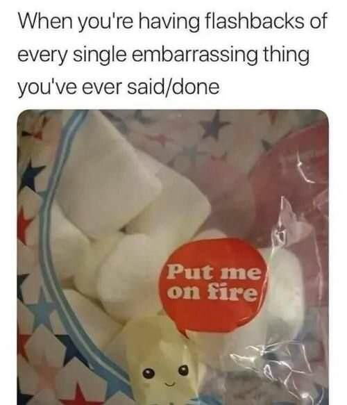Meme about remembering embarrassing things with pic of marshmallow asking to be put on fire