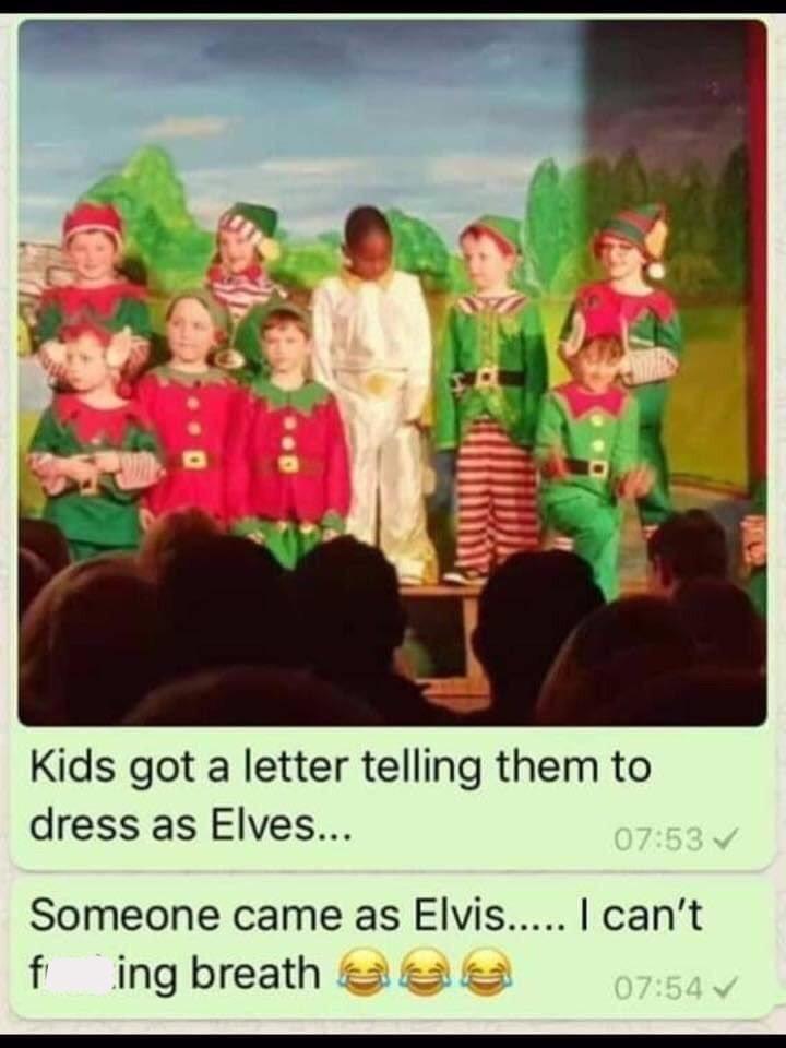 kid dressed as Elvis instead of an elf