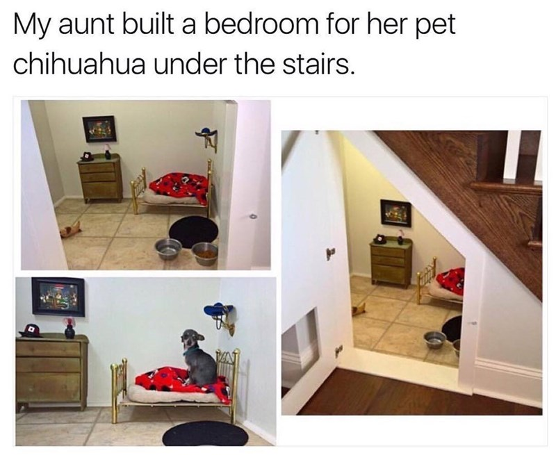 dog home built under a staircase