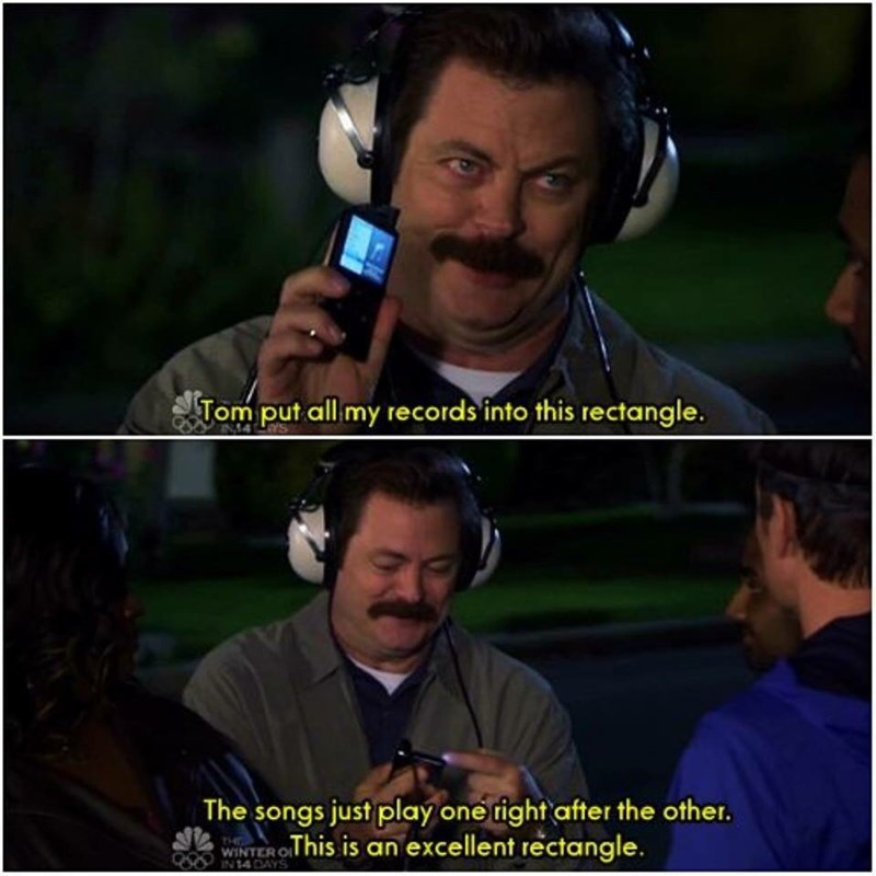 Ron Swanson excited about having an ipod