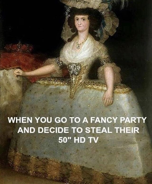 meme of a woman wearing a dress that looks like there is a tv under it