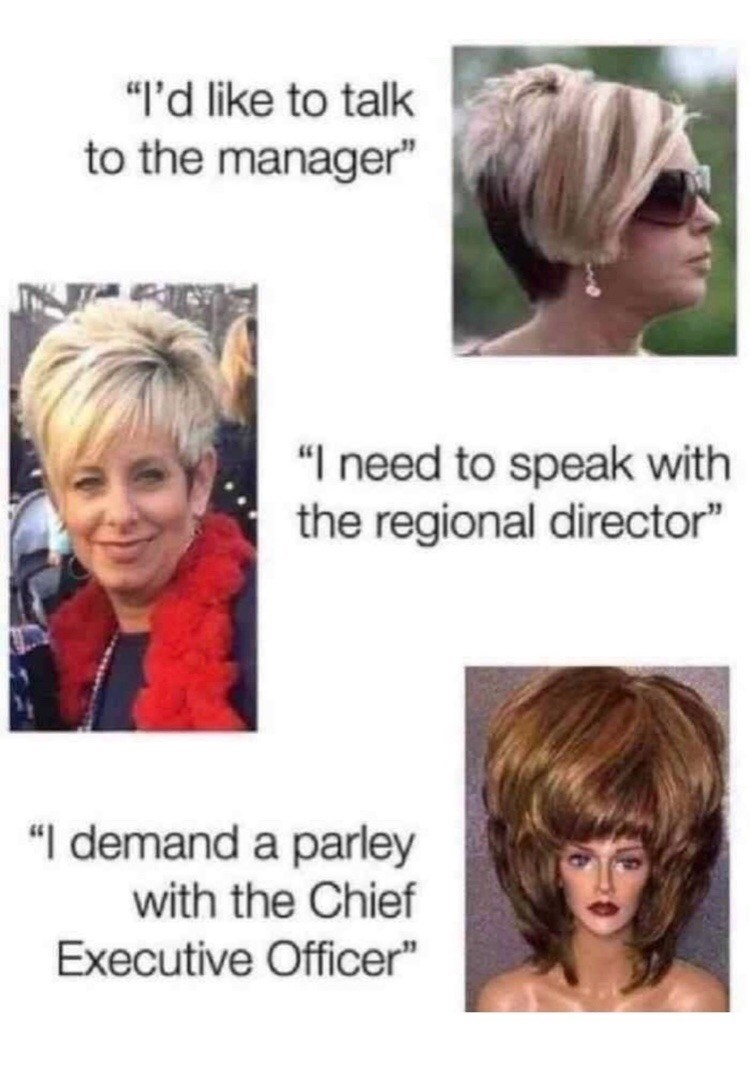 Meme about white moms becoming more powerful as their hair gets bigger