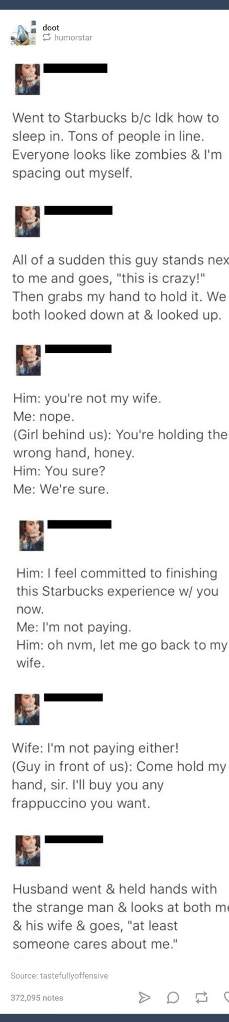 post about a random man in Starbucks holding strangers hands