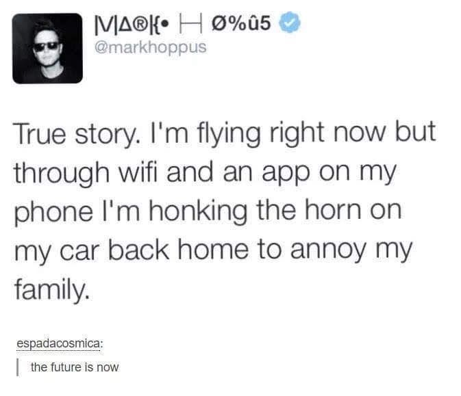 tweet about honking the car horn through an app to annoy your family