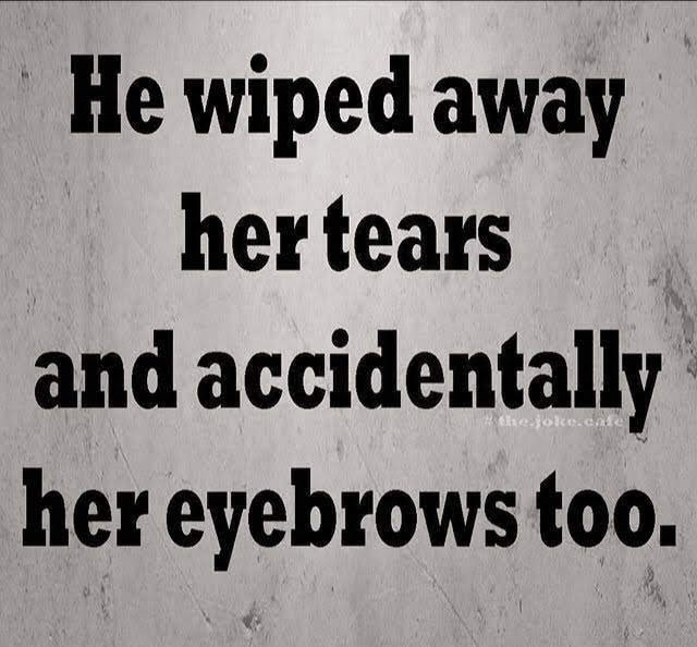 meme of a girl getting her drawn on eyebrows wiped away by a guy