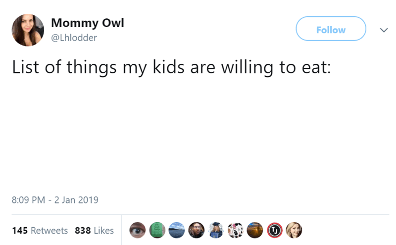 Text - Mommy Owl Follow @Lhlodder List of things my kids are willing to eat: 8:09 PM 2 Jan 2019 TJ 145 Retweets 838 Likes Theie