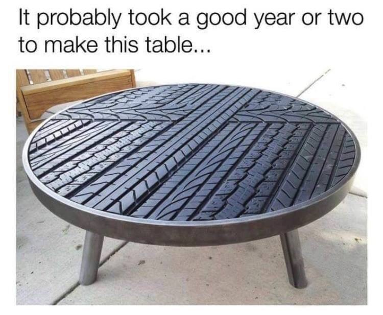 coffee table made out of a tire