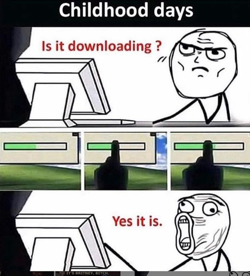 meme about checking the loading bar to see if something was loading in the 2000's