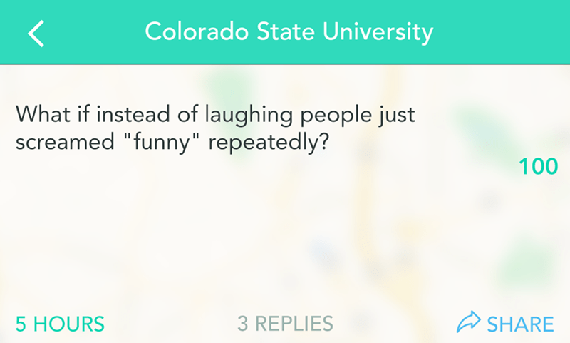 "Text that reads, ""What if instead of laughing people just screamed 'funny' repeatedly?"""