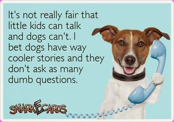 Dog - It's not really fair that little kids can talk and dogs can't. I bet dogs have way cooler stories and they don't ask as many dumb questions. SAARAECARUS