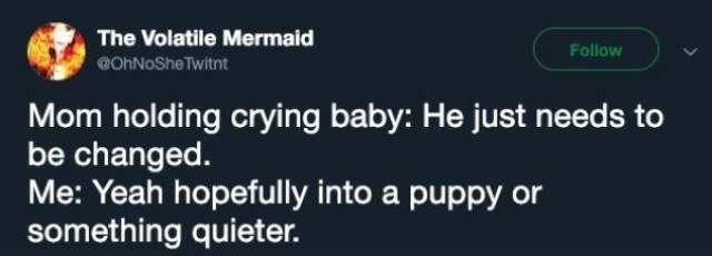 Text - The Volatile Mermaid Follow OnNoShe Twitnt Mom holding crying baby: He just needs to be changed. Me: Yeah hopefully into a puppy or something quieter.