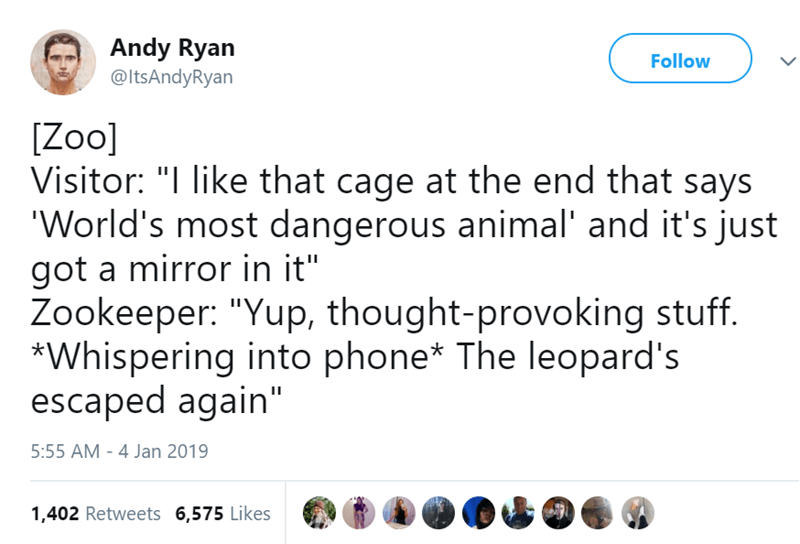 """Text - Andy Ryan @ItsAndyRyan Follow [Zoo] Visitor: """"I like that cage at the end that says 'World's most dangerous animal' and it's just got a mirror in it"""" Zookeeper: """"Yup, thought-provoking stuff. *Whispering into phone* The leopard's escaped again"""" 5:55 AM - 4 Jan 2019 1,402 Retweets 6,575 Likes"""