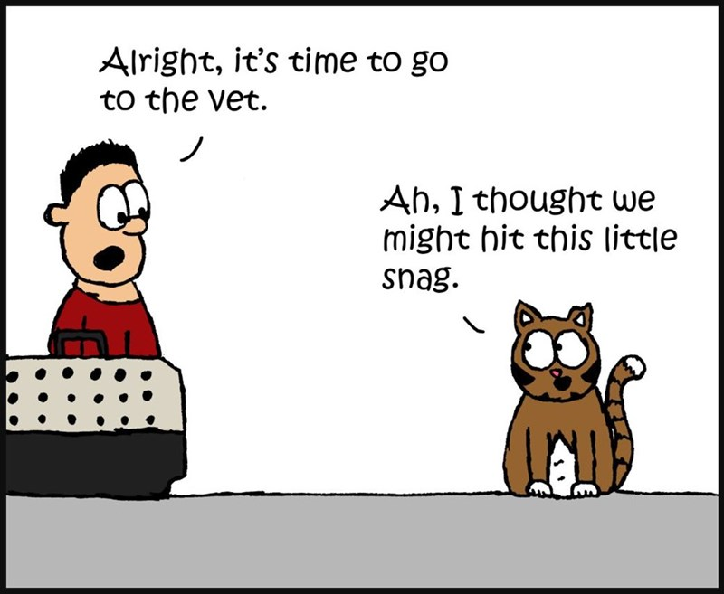Cartoon - Alright, it's time to go to the vet. Ah, I thought we might hit this little snag