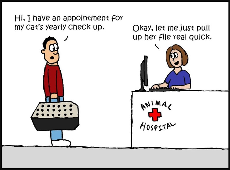Cartoon - Hi, I have an appointment for my cat's yearly check up Okay, let me just pull up her file real quick ANIMAK HOSPETA