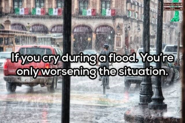 Rain - If you cry during aflood. Youre only worseningthe situation.