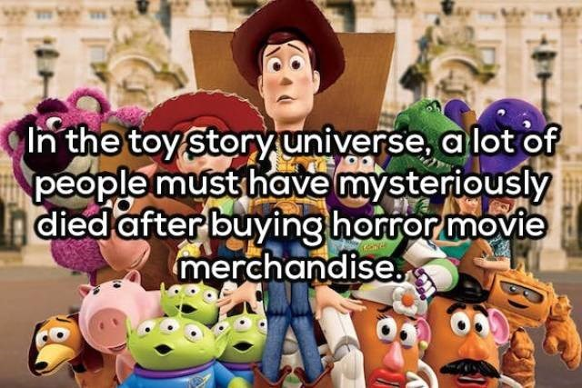 Animated cartoon - In the toy story universe, a lot of people must have mysteriously died after buyinghorror movie merchandise