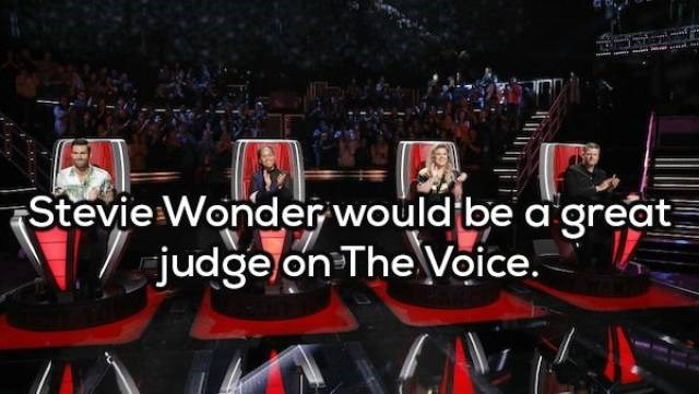 Red - Stevie Wonder would be a great judge on TheVoice.
