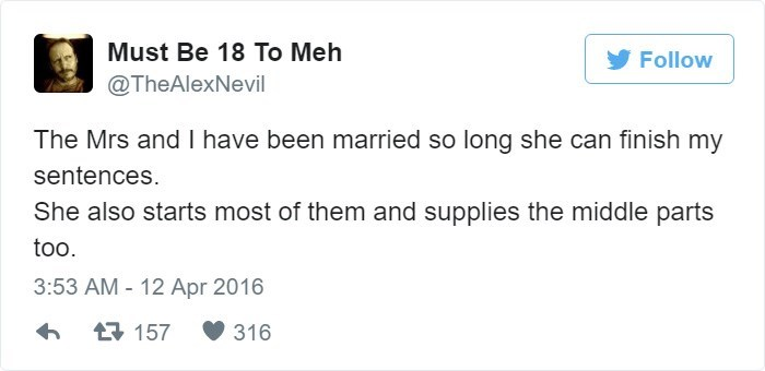 funny marriage tweet about a wife talking for you