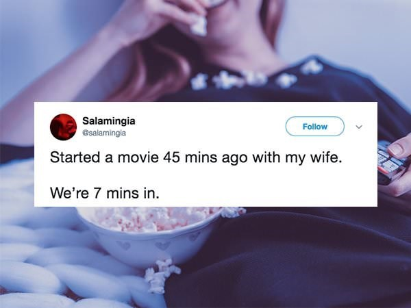 funny marriage tweet about not being able to watch a movie with your spouse