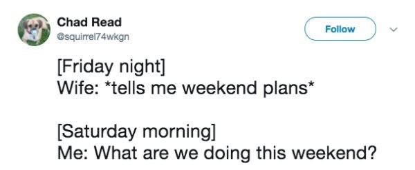 funny marriage tweet about couples not going out ever