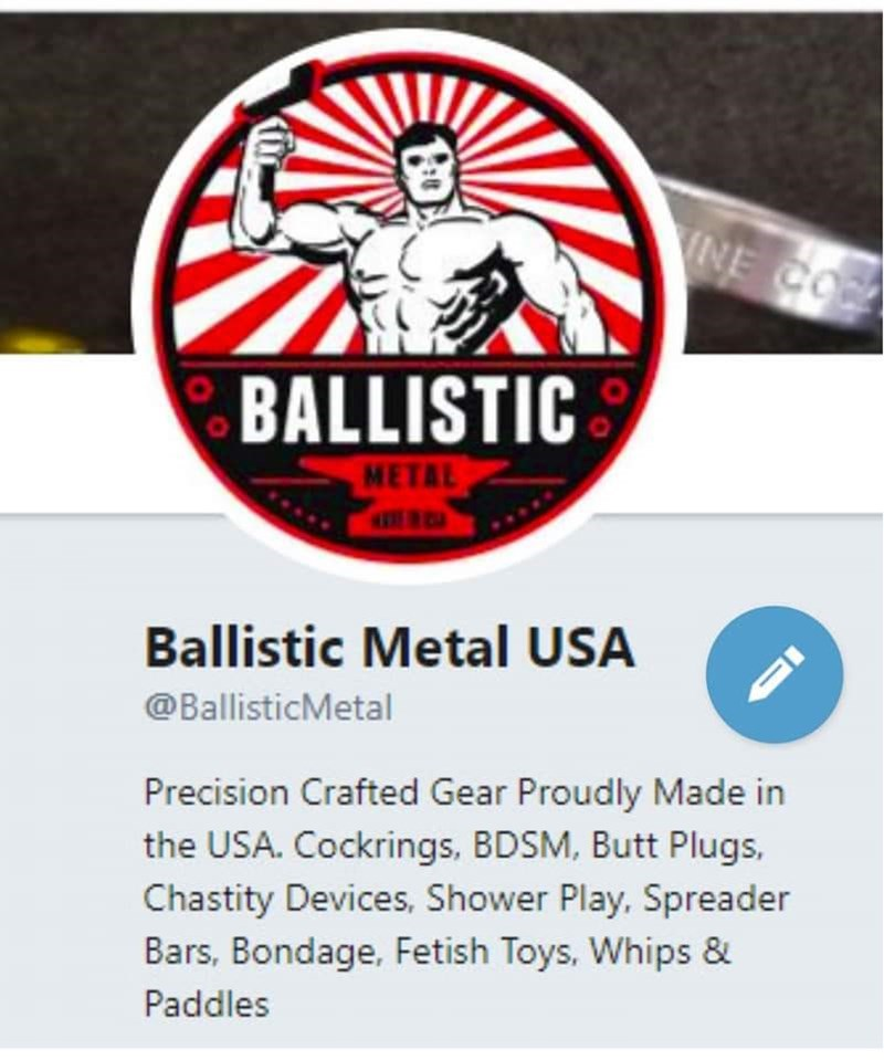 Logo - INE CO BALLISTIC METAL Ballistic Metal USA @BallisticMetal Precision Crafted Gear Proudly Made in the USA. Cockrings, BDSM, Butt Plugs, Chastity Devices, Shower Play. Spreader Bars, Bondage, Fetish Toys, Whips & Paddles