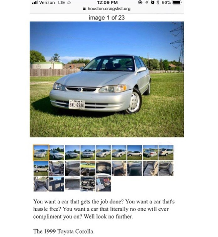 car for sale online described as a car that you'll never get complimented on