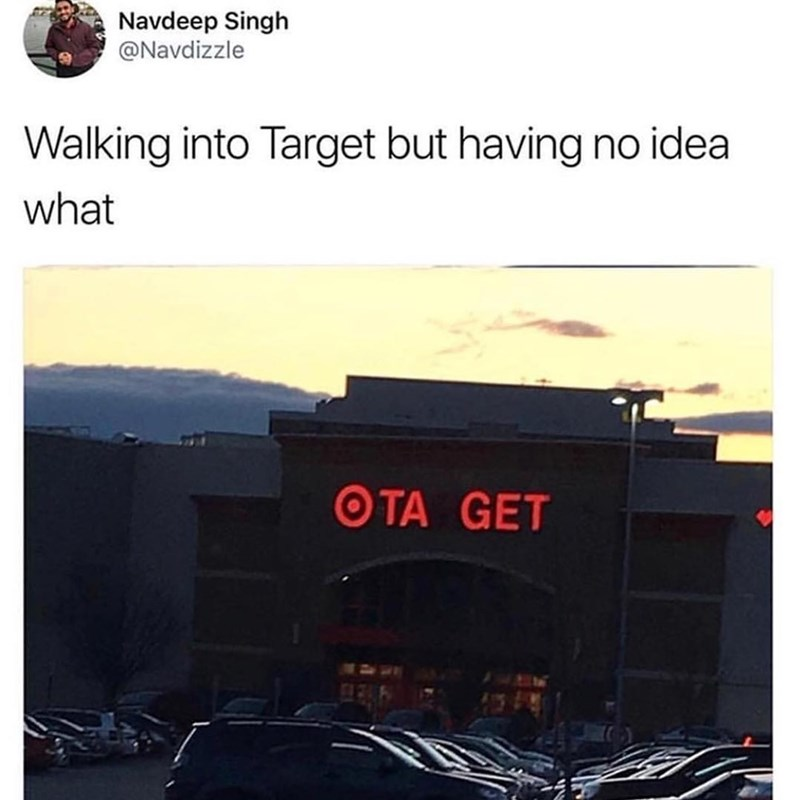meme of targets sign missing the R