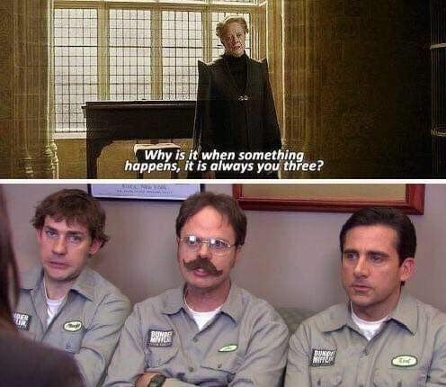 meme of Dwight, Jim and Michael from the office always getting involved in something