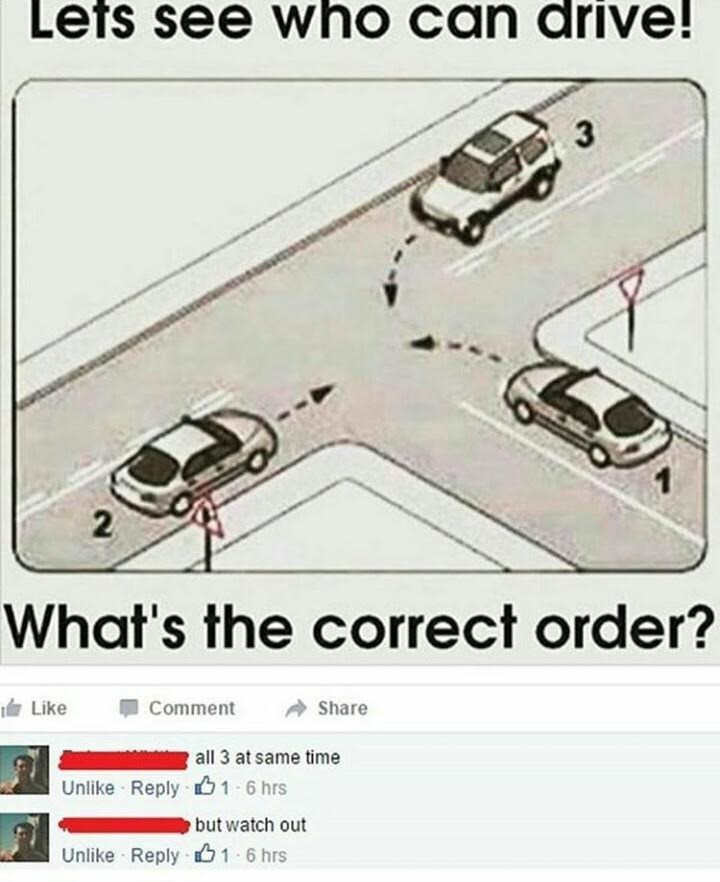 post about the correct order of cars at a traffic light