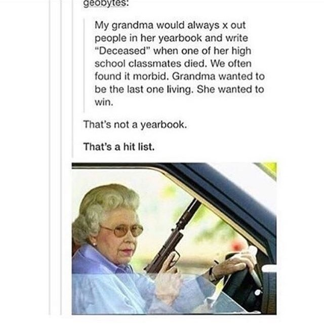 post of a grandma that would cross out people who died in her yearbook