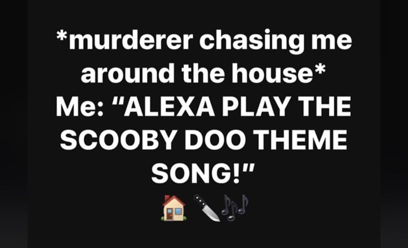 asking alexa to play the scoooby doo theme song when you're getting chased by a murderer