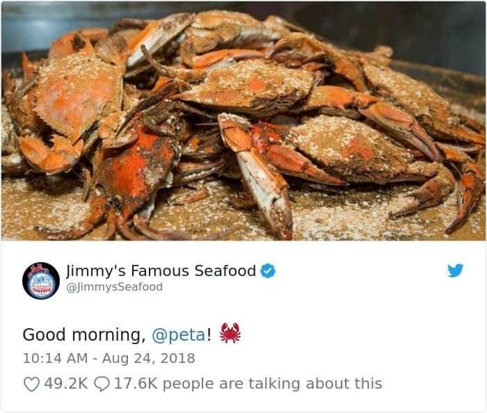 jimmy's famous seafood tweeting peta seasoned crabs