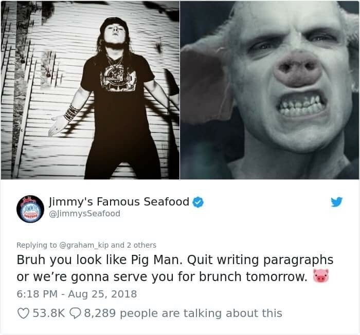 jimmy's famous seafood making fun of guy's looks