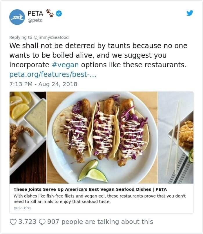 peta recommending vegan seafood restaurants