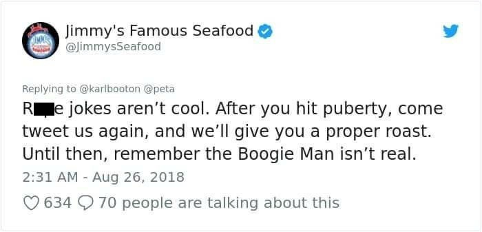 jimmy's famous seafood accuse man of making rape jokes and being childish
