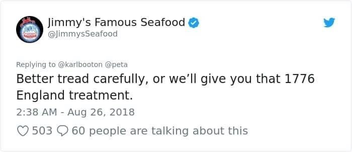 jimmy's famous seafood threatening a british person
