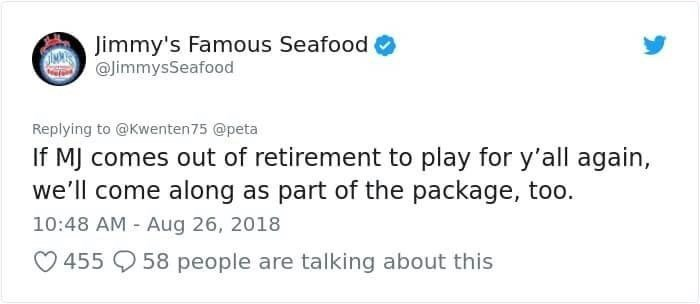 jimmy's famous seafood referencing Michael Jordan playing for Chicago