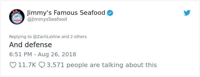 jimmy's famous seafood suggesting Zach LaVine is allergic to defense